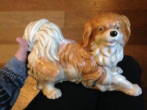 Image Is Loading Beautiful Vintage Large Ceramic Shih Tzu Dog Statue