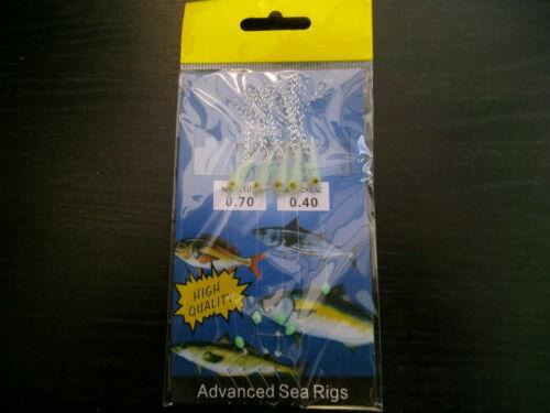 3 PACKS OF x  5 HOOK MINI LUMI FISH RIGS  50mm ADVANCED SEA RIGS