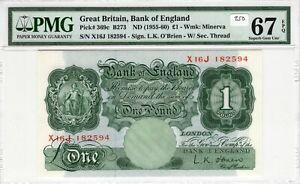 Great Britain 1955-60 1 Pound PMG Certified Banknote UNC 67 EPQ Superb Gem 369c