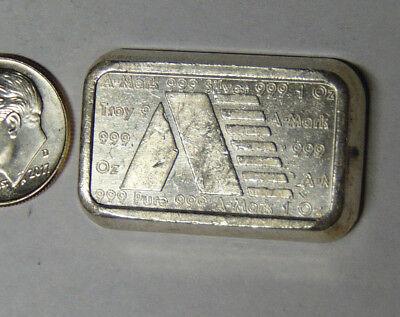 Vintage 1980 A-Mark USVI 1 Troy Oz Silver Ingot .999 Anaheim Metal Co