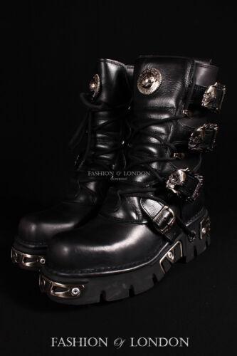 cuero s1 Rock unisex New 391 punk metalizadas Botas emo de ciber moteras negro X1wq8txZ