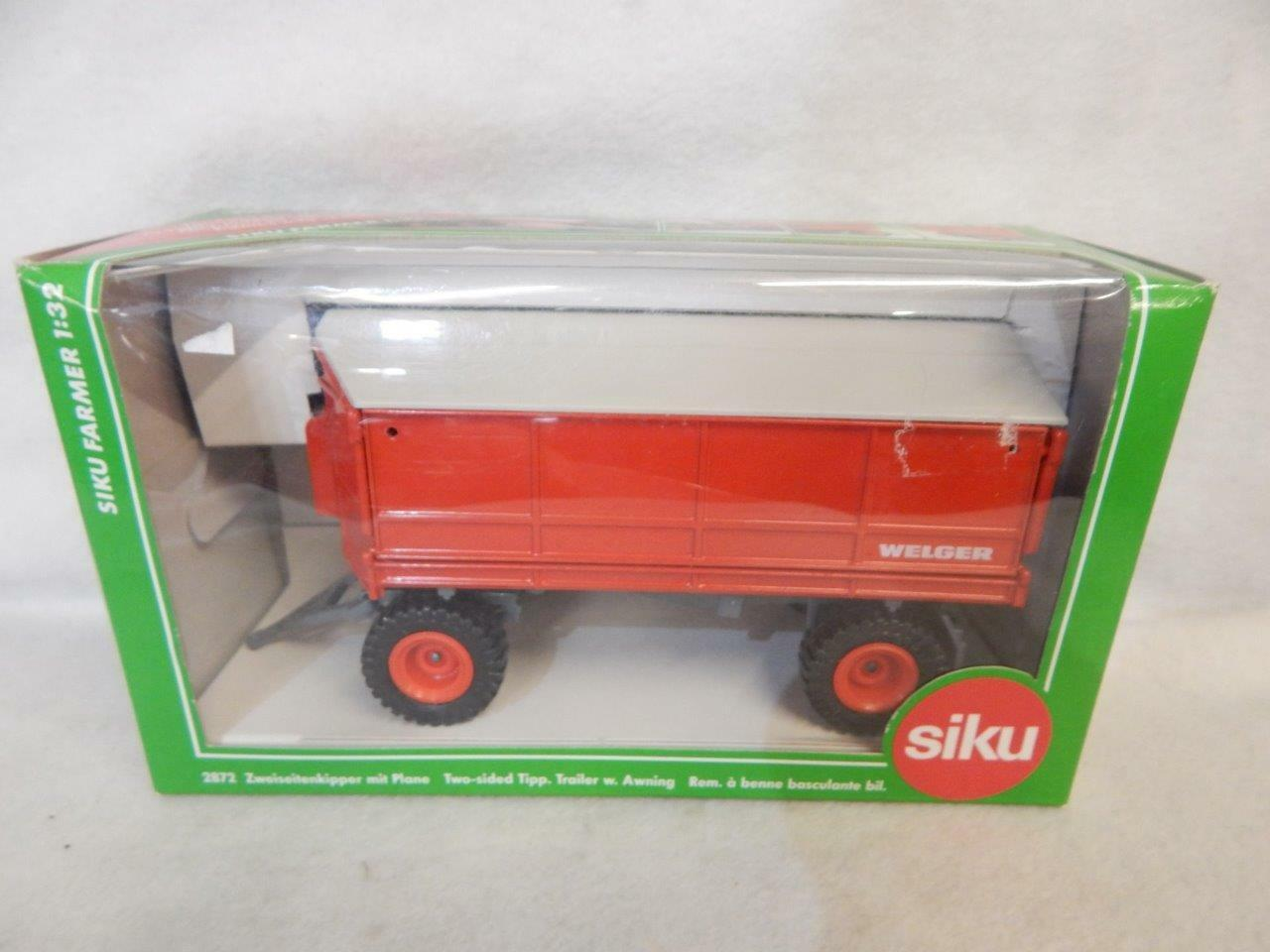 SIKU FARMER WELGER TWO SIDED TIPPING TRAILER WITH AWNING 2872 MIB 1 32