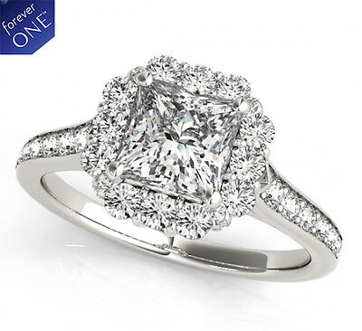 1.60 CT FOREVER ONE MOISSANITE SQUARE HALO MICRO PAVE ENGAGEMENT SOLITAIRE RING