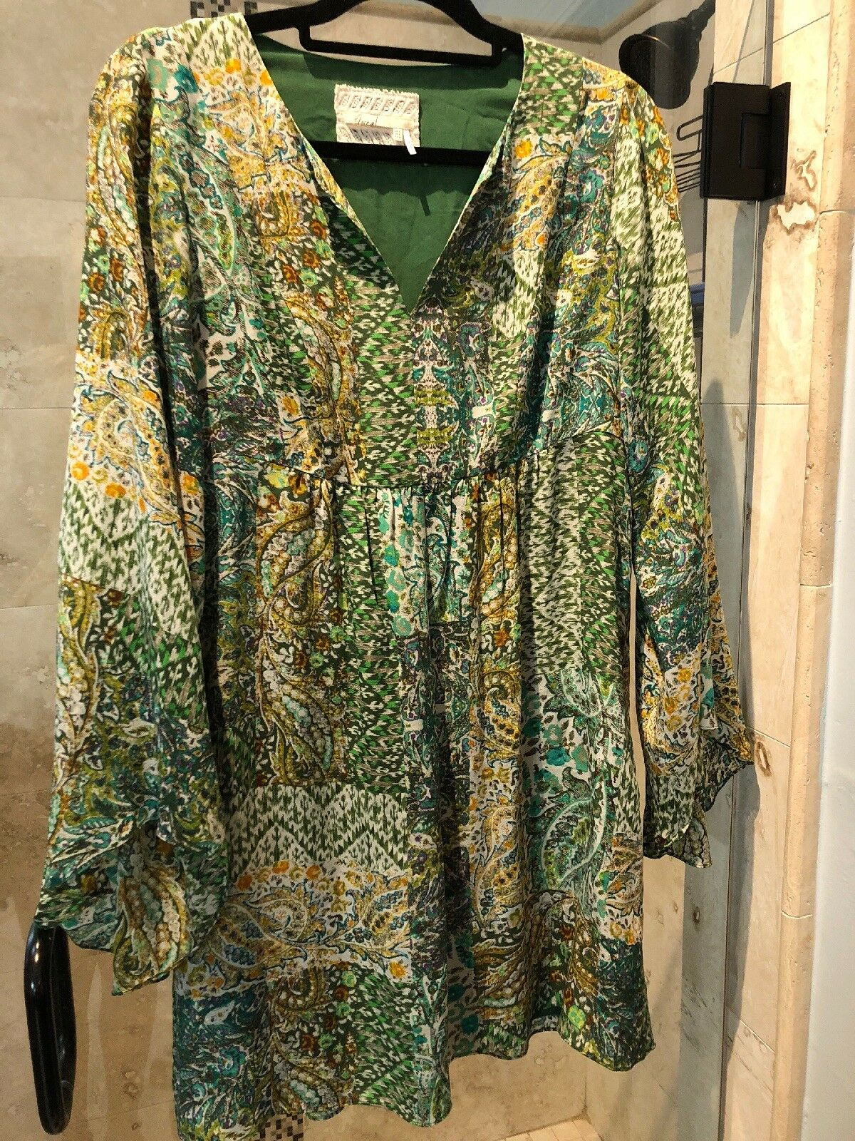 New  275 Anthropologie Anthropologie Anthropologie Floreat Silk Kimono Sleeve Green Paisley Dress s Small 4 370314