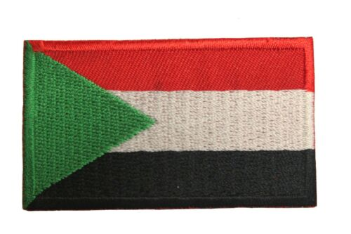 SUDAN COUNTRY FLAG IRON-ON PATCH CREST BADGE 1.5 X 2.5 INCH