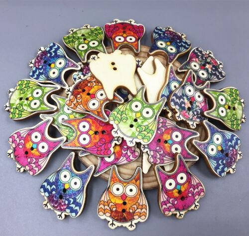 50pcs Karikatur Holz große Augen Eule Knopf  Nähen crafts Embellishments 32mm