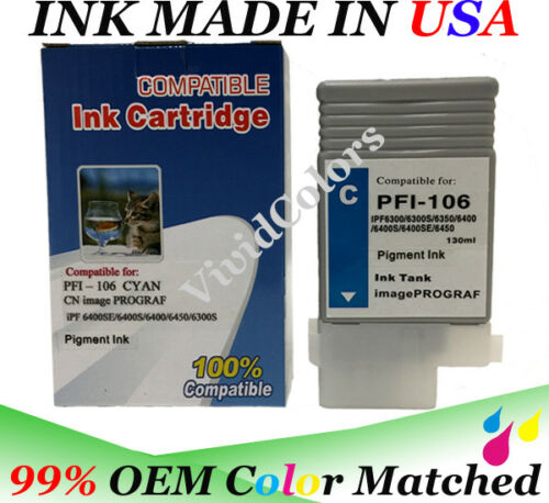 VC Compatible PFI106 Cyan Ink Cartridge for Canon 6400s plotter