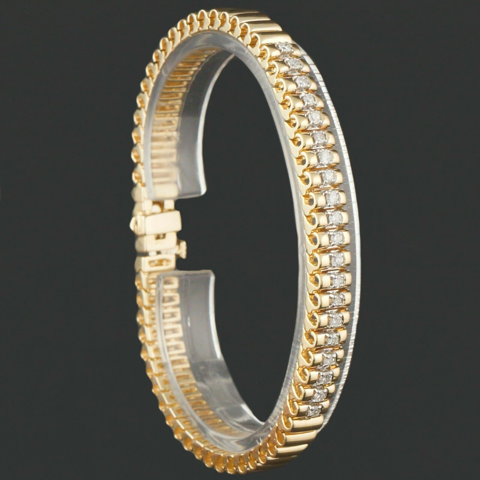 Elegant Solid 14K Yellow gold & .50 ct Diamond Link Estate Bracelet, 25 gram