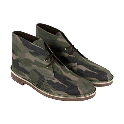 Clarks Bushacre Para Hombre botas Desierto De Estilo Textil Camo Caqui 26141674