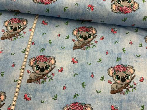 "Kinderstoff hellblau Jersey /""Koala-Mädchen/"" Jeansoptik"