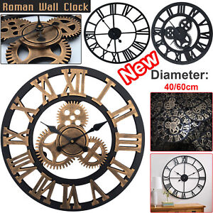 TRADITIONAL-VINTAGE-STYLE-IRON-WALL-CLOCK-ROMAN-NUMERALS-HOME-DECOR-GIFT-ROUND