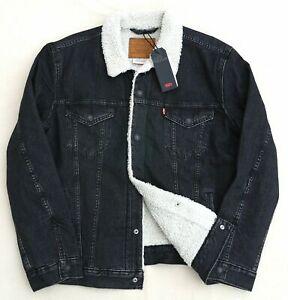 Levis-Premium-Sherpa-Trucker-Jean-Jacket-Denim-0097-Men-039-s-Medium-M