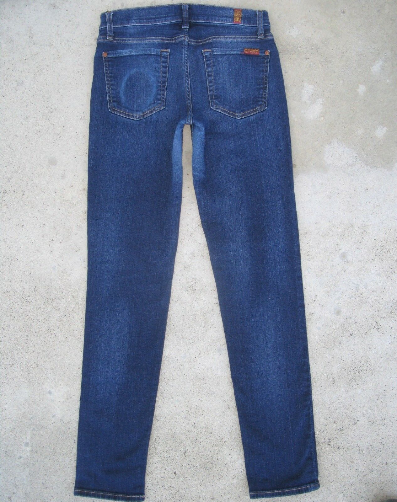 7 For All Mankind The Slim Cigarette Skinny Jeans Dark Distressed Sz 27