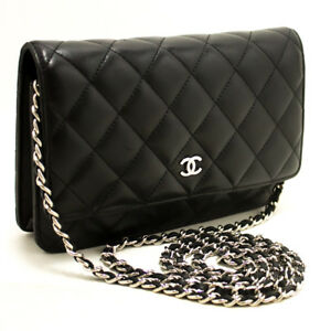 m77 CHANEL Black Wallet On Chain WOC Shoulder Bag Crossbody Clutch ... f16e4d6e35227