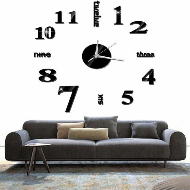 Modern DIY 3D Large Number Wall Clock Mirror Sticker Decor