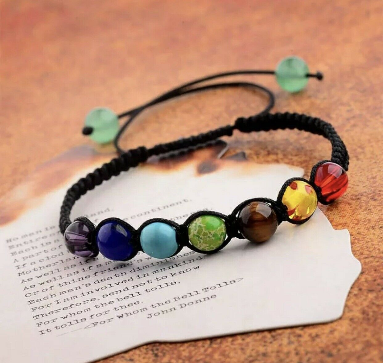 Meditation Gift Minimalist Crystal Bracelet Amulet. Adjustable Thin Cord String Bracelet 7 Chakra Bracelet Yoga Gift
