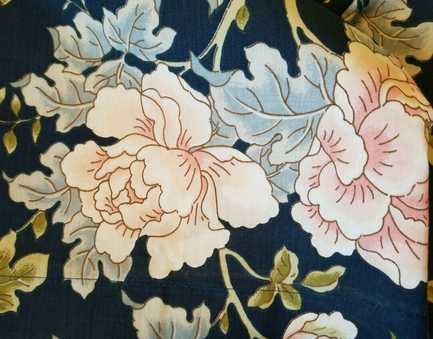 VTG SPRINGMAID blueE PINK GREEN PEONIES NO-IRON WONDERCALE QUEEN FLAT SHEET USA