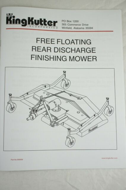 Owners Manual King Kutter & County 3pt Hitch Line Finish Mower Rear  Discharge