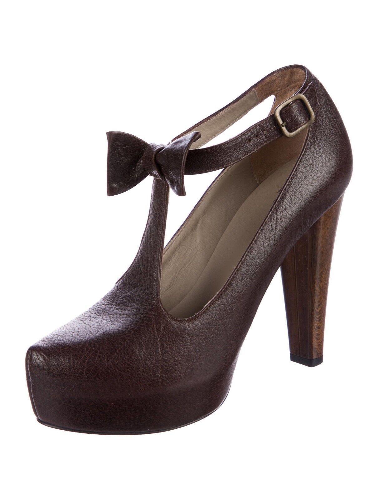 Tibi New York York York Old LuxePlatform T-Strap Mary Jane Heels 38.5 8.5 braun NIB  575 4dcdff