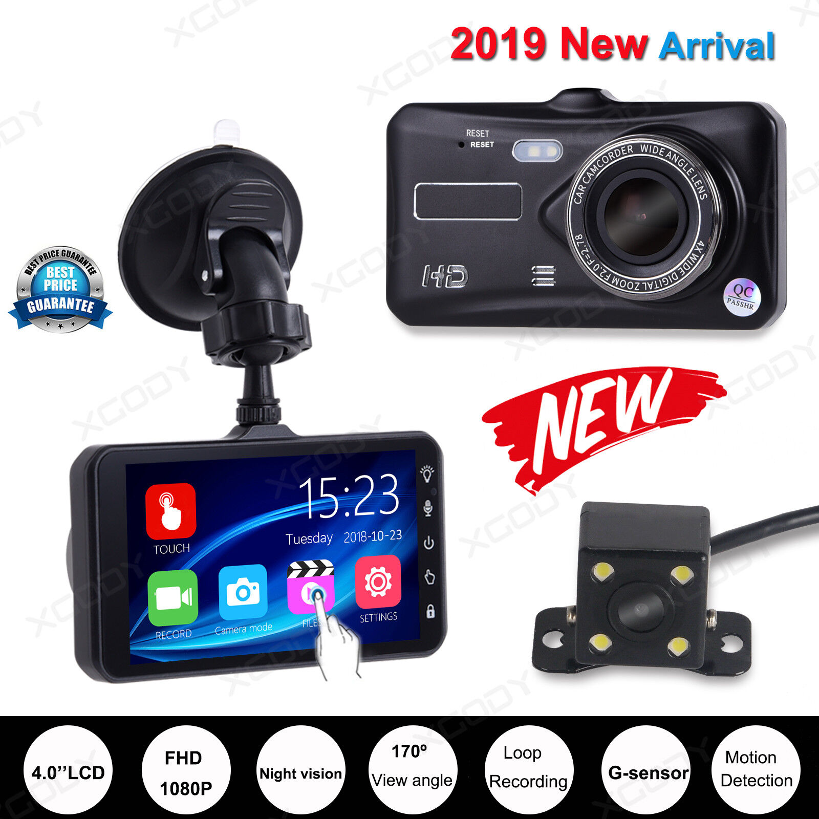 s-l1600 New 4'' Dual Lens Car Dash Cam DVR HD 1080P Video Recorder Camera G-sensor US