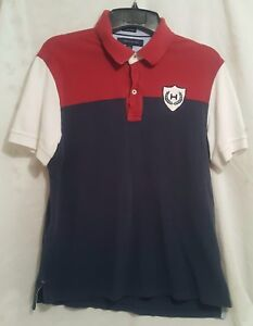 24380408 Tommy Hilfiger Polo Shirt Size Adult Large Red Blue Shield Custom ...