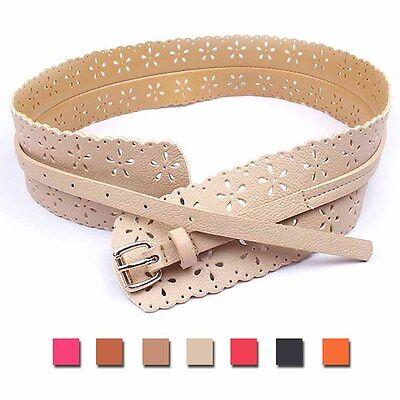 Slim Wide Pin Buckle Leather Retro Belt Flowers Knot Hollow Women Girl Lady