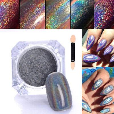 HOT 2g Rainbow Holographic Laser Powder Nail Glitter Chrome Pigments Decoration
