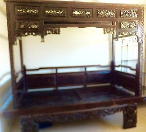 Image Is Loading Exquisite Antique Chinese Hand Carved Wood Wedding Opium