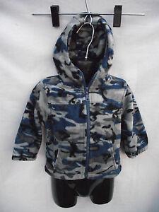 BNWT Sz 1 Boy's Blue/Grey Camo Polar Fleece Zip Front Hoodie Jacket