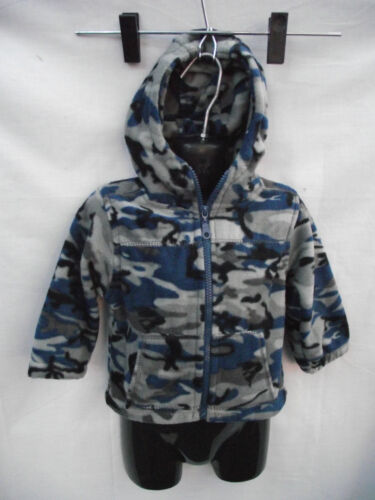 BNWT Sz 1 Boy/'s Blue//Grey Camo Polar Fleece Zip Front Hoodie Jacket