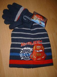 TOP Winterset Mütze und Handschuhe Disney CARS blau oder grau Gr. 52 + 54 NEU