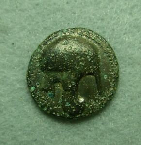 Kings of Macedonia, Kassander, AE 18, 316-297 BC, Helmet / Spearhead, aVF