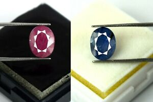 Loose Gemstone 8-10 Ct Oval Cut Blue Sapphire & Ruby 100% Natural Pair Certified