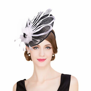 ff582aea92709 Womens Ladies Dress Fascinator Wedding Kentucky Derby Sinamay Hat Cocktail  T213