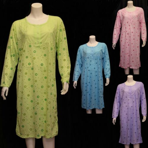 New Ladies Floral Print Emboidered Full Sleeve Nightie Night Dress Cotton Nighty