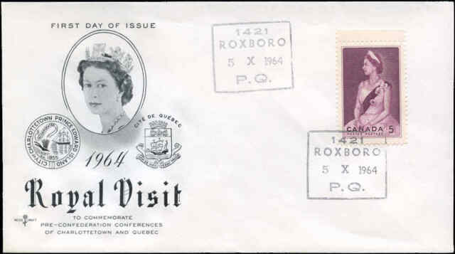 Canada 1964 First Day Cover ROYAL VISIT ROXBORO, PQ with a 5c Scott #433 stamp