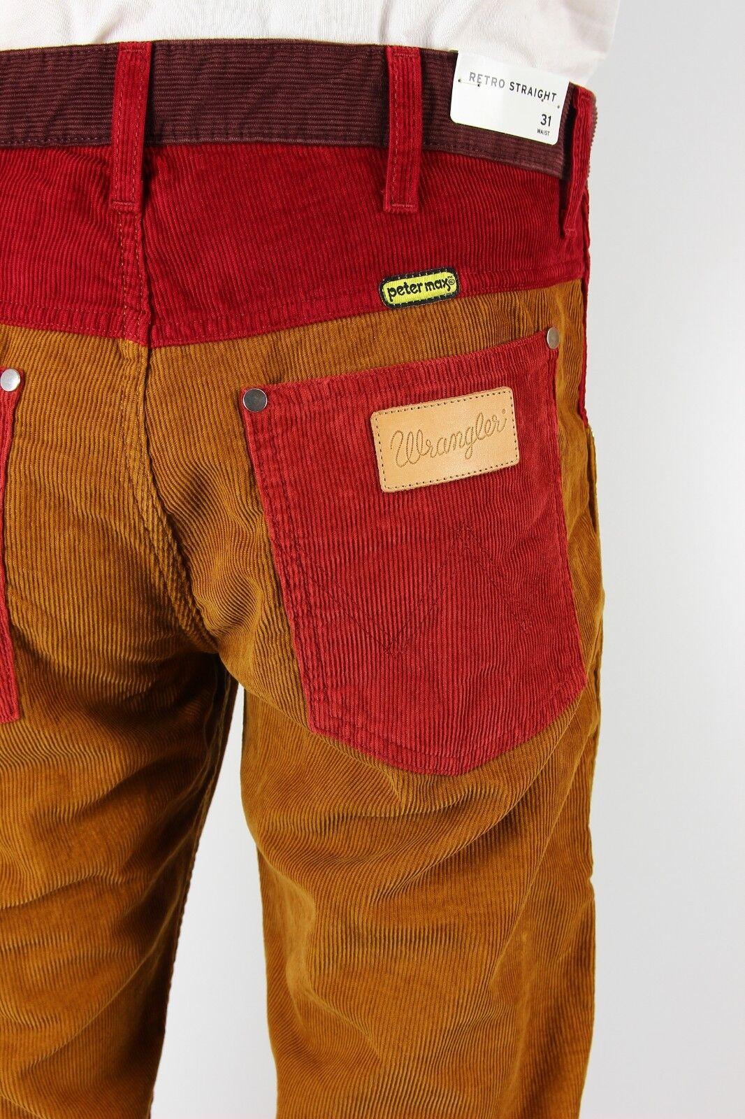 Nuovo Wrangler di Peter Max Rétro Jeans Dritto Fili per verdesboro L32 L34