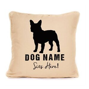 Personalised French Bulldog Cushion Home Decor Sits Here