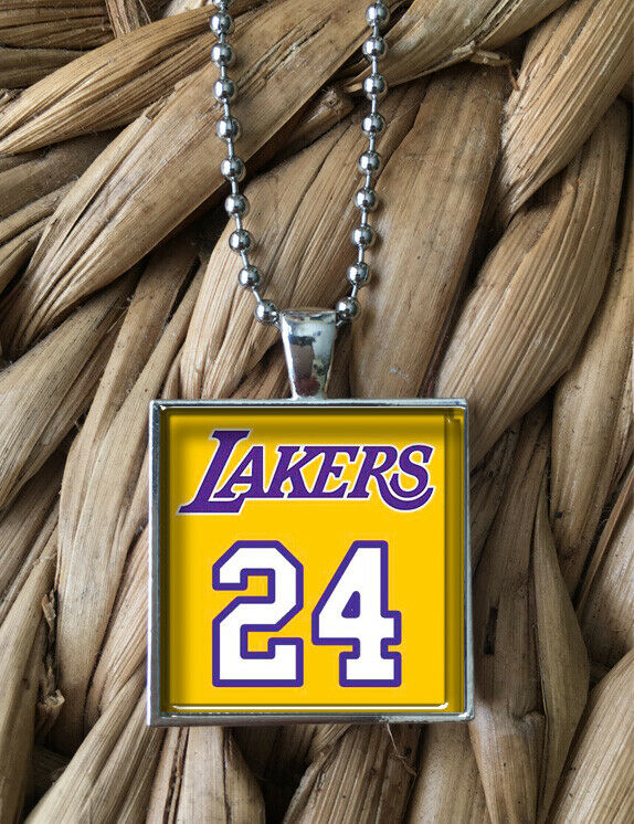 Kobe Bryant Lakers 24 Jersey Glass Pendant Silver Chain Necklace NEW