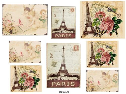 VinTaGe IMaGe PaRiS LaBeLs PosTCaRdS SHaBbY WaTerSLiDe DeCALs