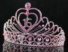 A89153 PINK AUSTRIAN RHINESTONE CROWN TIARA WITH HAIR COMBS SWEET 16 BIRTHDAY