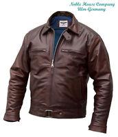 Mens Luftwaffe leather FLYING JACKET brown horsehide Pilots flight coat S M L XL