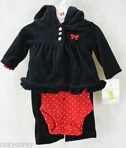 Christmas carter s baby girls 3 pc polka dot set jacket bodysuit pants