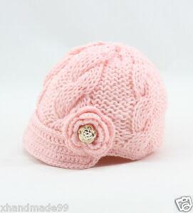 Newborn Baby Girl knit hat crochet flower gold buttons 0-3 mon brown Photo Prop