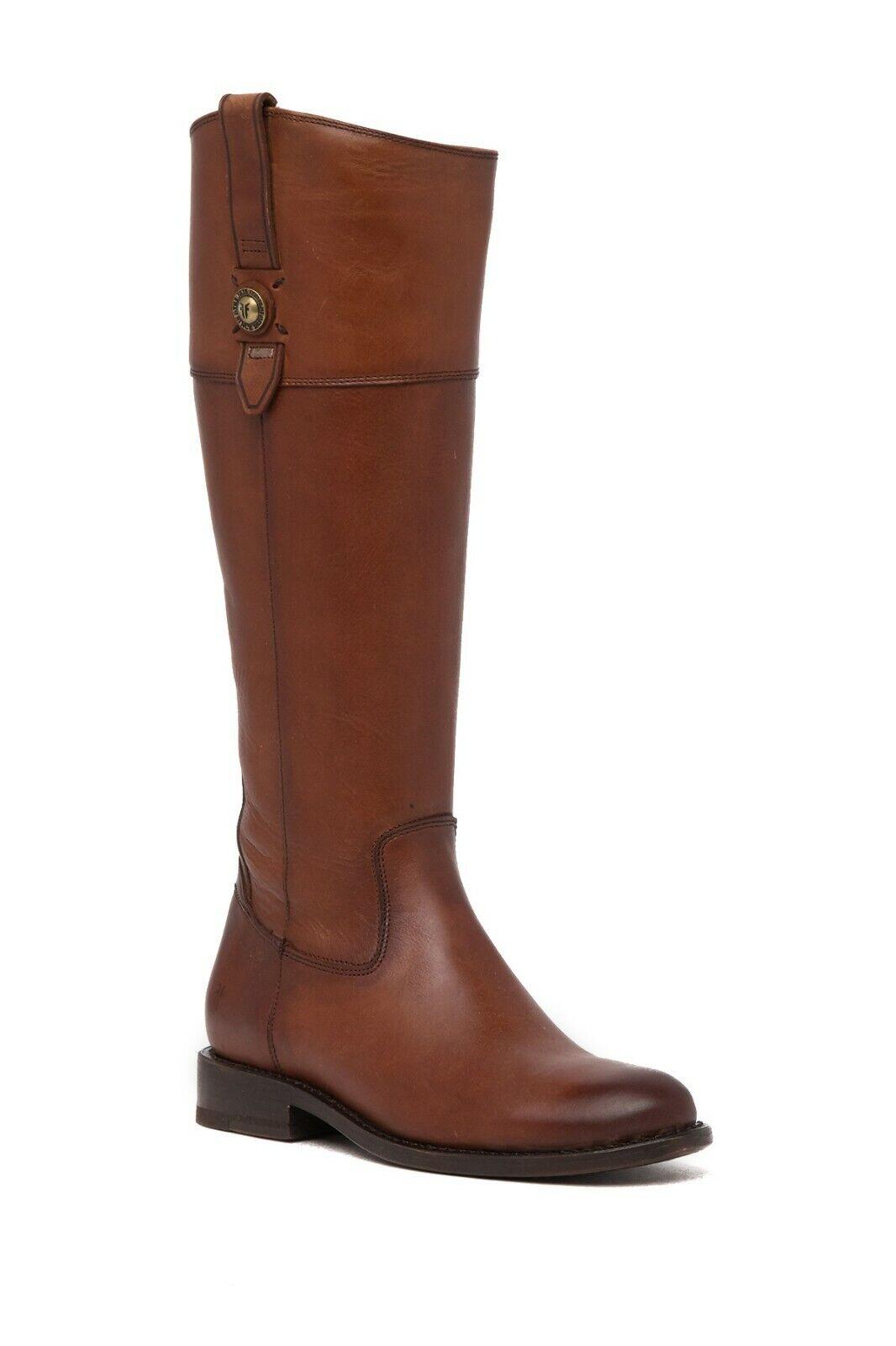 Frye Boots Jayden Button Tall Inside Zip Western Riding Cognac 7 DEFECT