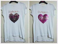 PRIMARK GIRLS TWO WAY  BRUSH SEQUIN T-SHIRT TOP  LOVE UNICORN HEART Age  8-12