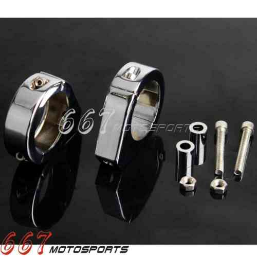 CNC 41mm Chrome Turn Signal Relocation Kit Fork Mount Clamps Fit Harley-Davidson