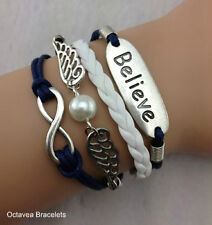 BLUE AND WHITE STRAND BELIEVE CHARM INFINITY WINGS PEARL BRACELET UK.