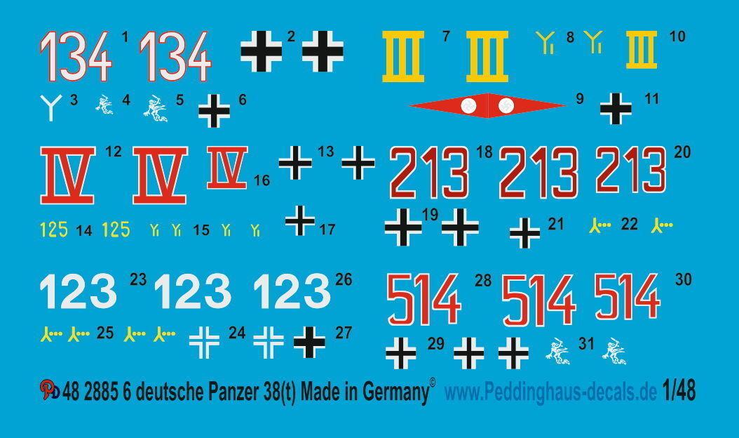 Peddinghaus Peddinghaus Peddinghaus 2885 1 48 Rótulo para 6 personas Tanques Alemanes 38T 2b4290