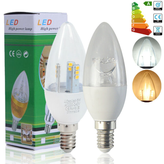 12/6x Dimmable 5W(50w) 8W(60w) E14 SES Ampoules Bougie LED Lumière Flamme Lampe